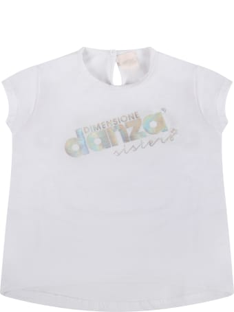 Dimensione Danza White T-shirt For Baby Girl With Logo
