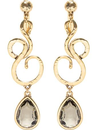 Alberta Ferretti Golden Metal Earrings With Stones