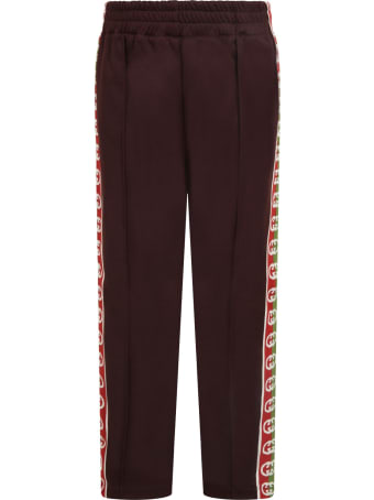 Gucci Brown Sweatpants For Kids With Double Gg