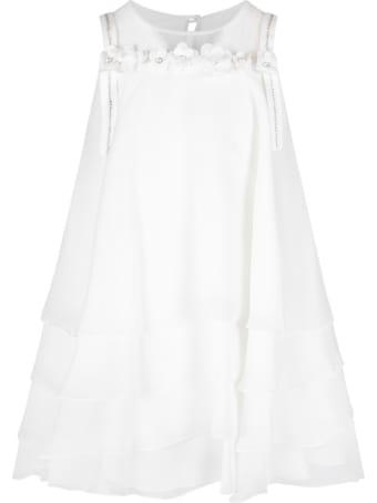 Loredana White Dress For Girl With Rhinestones