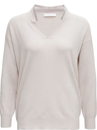Fabiana Filippi Beige Wool And Silk Sweater With Bright Detail