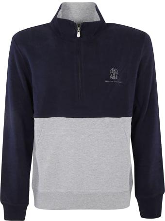 Brunello Cucinelli Zip Placket Chest Logo Sweatshirt