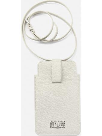 Maison Margiela Leather Mobile Phone Holder With Logo Detail On Tone On Tone