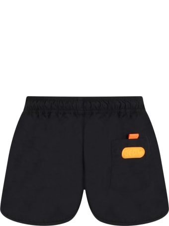 GCDS Mini Black Swim Short For Boy With Logo