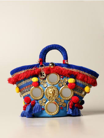 Sikuly Handbag Catania Sikuly Coffa Bag With Multi Embroidery And Applications