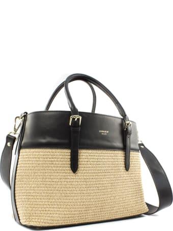 Avenue 67 Asia Bag In Black Leather And Raffia