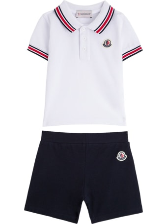 Moncler Polo Shirt And Cotton Shorts Suit With Logo