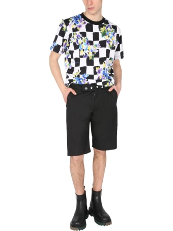 Off-White Check Flowers Scoop Neck T-shirt