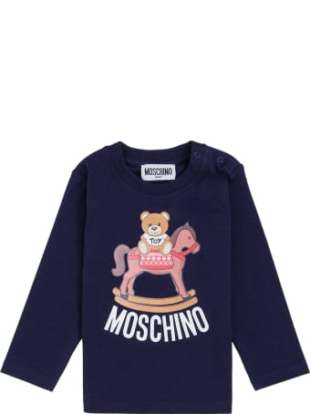 Moschino Long-sleeved T-shirt In Blue Cotton With Teddy Bear Print