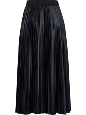 Antonelli Ismene Black Pleated Leatheret Skirt