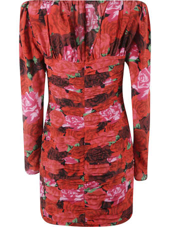 Magda Butrym Rose Print Layered V-neck Dress
