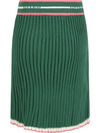 Marni Green Skirt For Girl With White Logo
