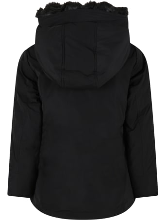 Woolrich Black Jacket For Kids With Patch Logo