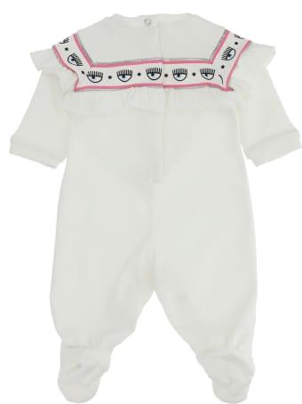 Chiara Ferragni White Jumpsuit For Baby Girl
