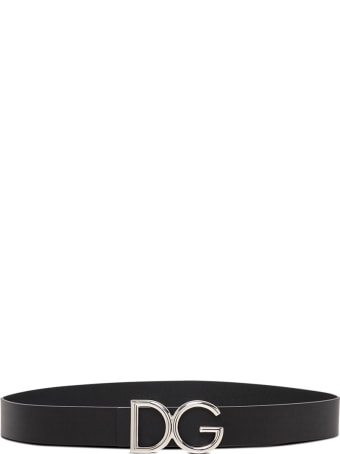 Dolce & Gabbana Black Leather Belt With Logo Buckle