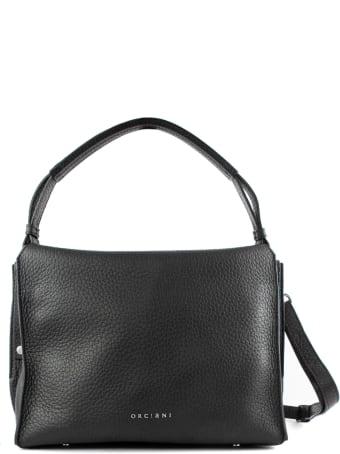 Orciani Twenty Soft Black Leather Shoulder Bag