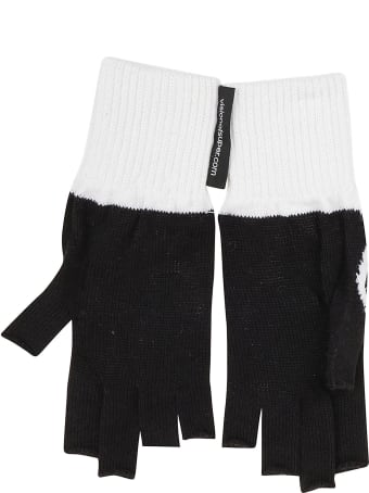 Vision of Super Black Gloves With White Flames