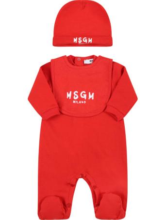MSGM Red Set Fo Babykids With White Logo