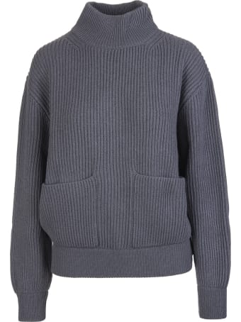 Fedeli Woman Turtleneck Sweater In Dark Grey Ribbed Cashmere With Pockets