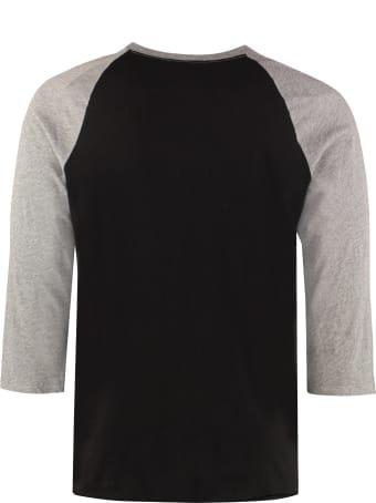 Saint Laurent Long Sleeve Printed Cotton T-shirt