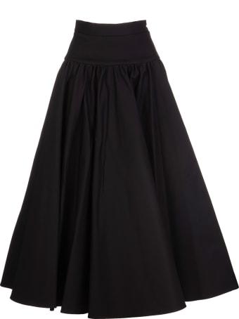 Roberto Cavalli High Waist Black Midi Skirt With Ruching