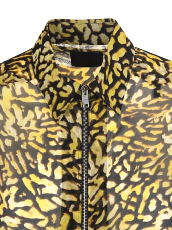 Givenchy Yellow And Black Animalier Silk Georgette Shirt With Zip