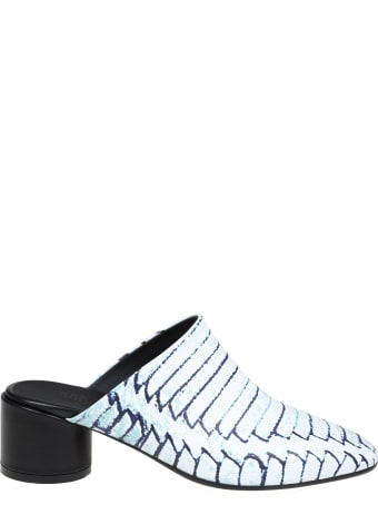 MM6 Maison Margiela Mm6 Sabot In Black And White Leather