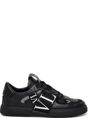 Valentino Garavani Black Leather Sneakers With Vltn Logo