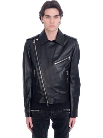 Balmain Biker Jacket In Black Leather
