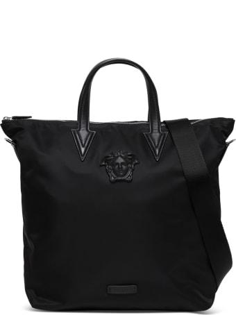 Versace Medusa Tote Bag In Black Nylon