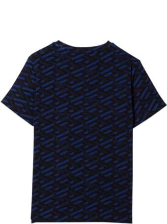 Versace Blue And Black T-shirt With Print And Logo Verscae Kids