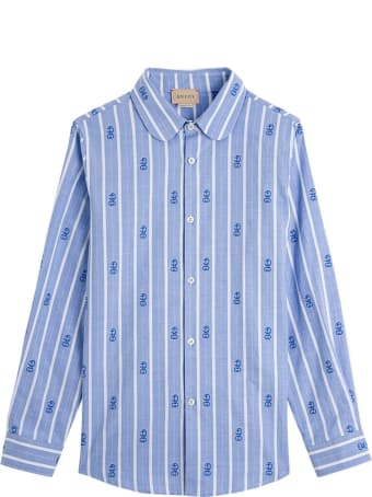 Gucci Striped Cotton Shirt With Gg Motif