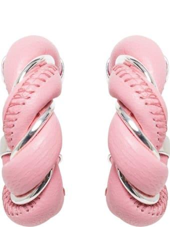 Bottega Veneta Pink Leather Hoop Earrings
