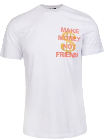Make Money Not Friends White T-shirt With Coral Pink Logo And Golden Glitter Dollar