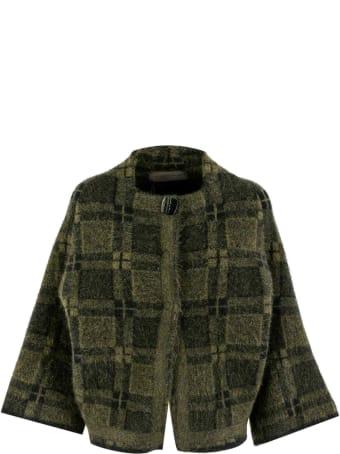 D.Exterior Round Neck Wool Cardigan
