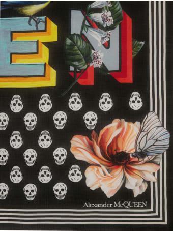 Alexander McQueen Biker Skull Fun Fonts Scarf