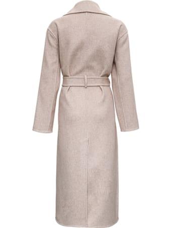 MICHAEL Michael Kors Long Beige Wool Coat With Belt