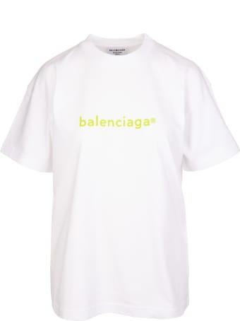 Balenciaga Woman White And Lime Medium Fit New Copyright T-shirt