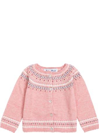 Tartine et Chocolat Pink Cotton Blend Cardigan With Floral Print