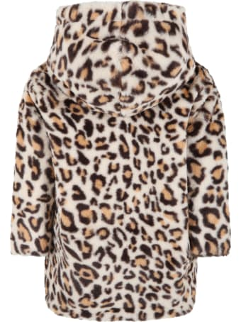 Douuod Beige Coat For Girl With Animalier Details