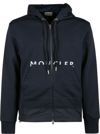 Moncler Logo Print Zipped Hoodie