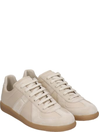 Maison Margiela Replica Sneakers In Beige Suede And Leather