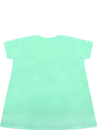 MSGM Mint Green Dress For Babygirl With Logo