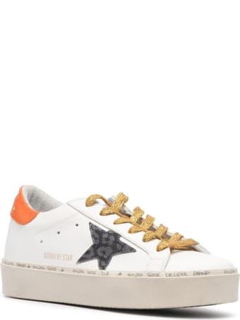 Golden Goose Hi Star Leather Upper And Heel Leopard Denim Star