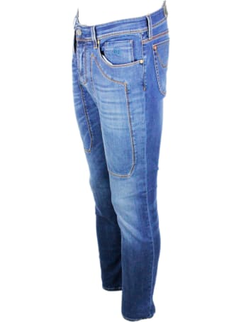 Jeckerson 5-pocket Denim Jeans Trousers In Stretch Cotton With Stitching On Zip Patch With Slim Fit
