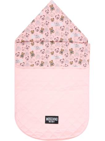 Moschino Pink Sleeping Bag For Baby Girl With Logo