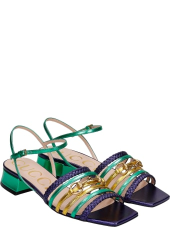 Gucci Flats In Green Leather
