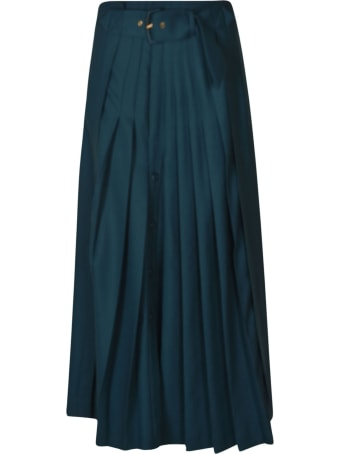Alberta Ferretti Rear Zip Belted Pleated Skirt