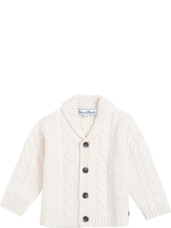 Tartine et Chocolat White Cardigan In Woven Wool With Buttons