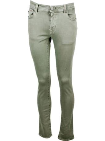 Sartoria Tramarossa Leonardo Slim Trousers In 5-pocket Stretch Cotton Gabardine With Sartorial Stitching